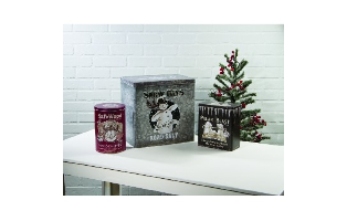 WINTER ADVERTISING TINS SET OF 3