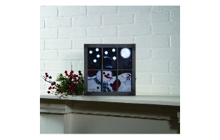 LIGHTED SNO HAPPY FRAMED